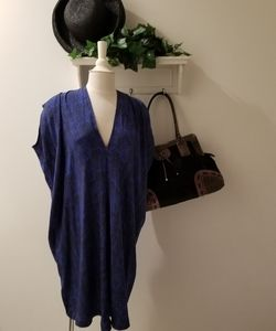 NWOT Vince 100% Silk Blue & Black Caftan Dress (M)